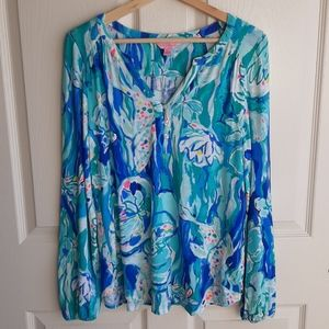 Lilly Pulitzer Blue Lilias Blouse Top Size Medium